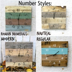 Black & White Reclaimed Wood Wall Clock.  Pallet Wood.  Modern Numbers.