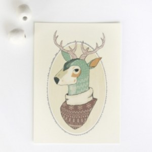 Oh Deer 5x7 art print, illustration, deer in ugly sweater, antlers, teal, illustrated deer bust, winter, digital print