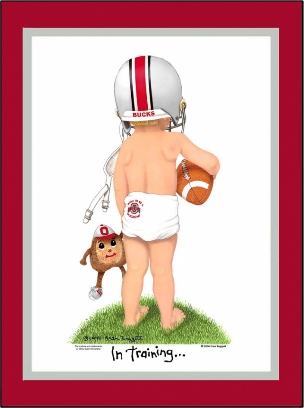 Ohio State Buckeyes Personalized Football Collegiate Art Print by Fran Baggett