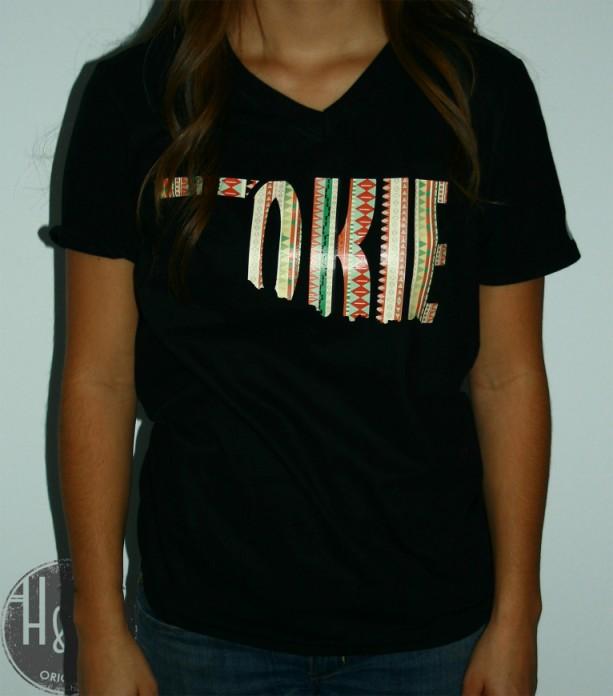 Oklahoma OKIE State Shape T-Shirt Tribal Print