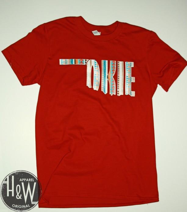 oklahoma okie state shape t shirt tribal print aftcra