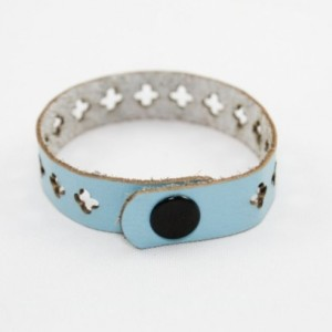 Skinny Leather Bracelet - Cross Cutouts (Sky Blue)