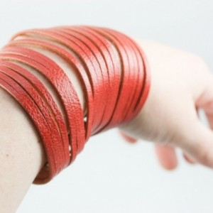 Sliced Leather Cuff (Bright Coral)