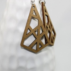 Laser Cut Wooden Earrings in Metallic Gold