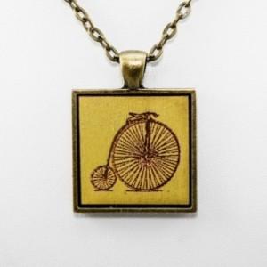 Cameo Pendant - Bicycle (Lime Green)