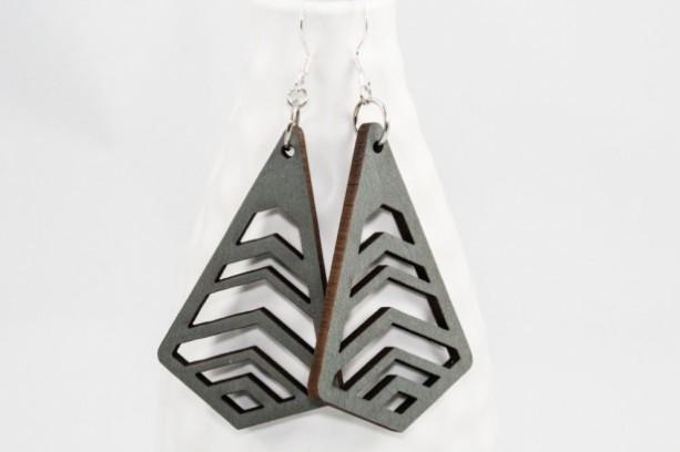 Wood Earrings - Chevron Cutouts (Gray)