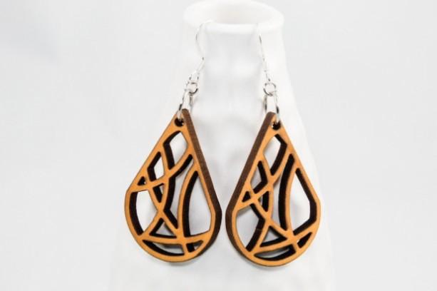 Wood Earrings - Geometric Teardrop (Yellow)