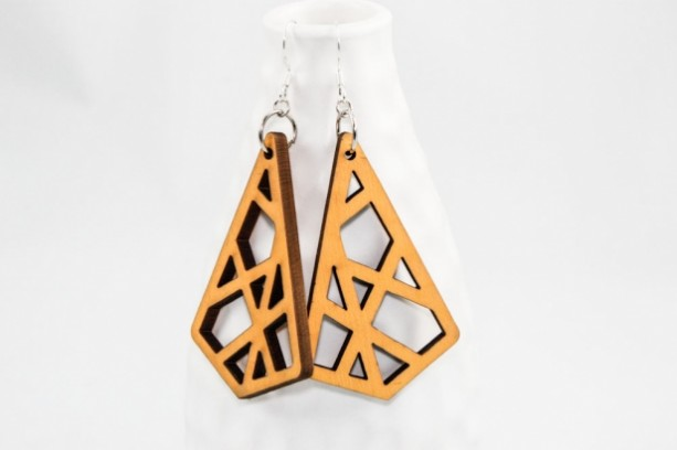 Wood Earrings - Geometric Cutouts (Yellow)