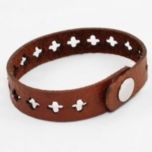 Skinny Leather Bracelet - Cross Cutouts (Brown)