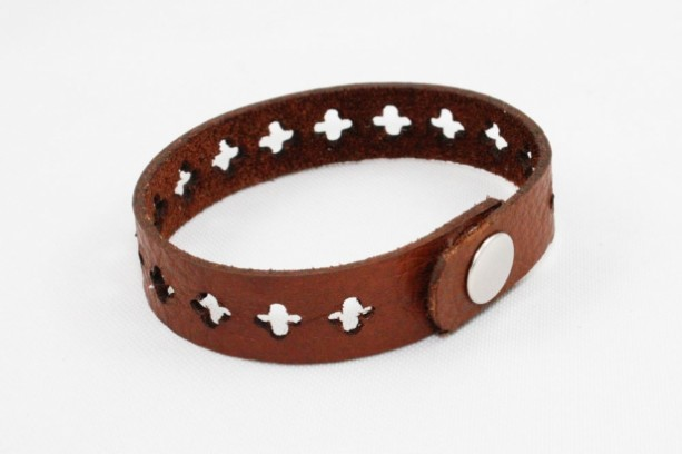 Skinny Leather Bracelet - Cross Cutouts (Brown)