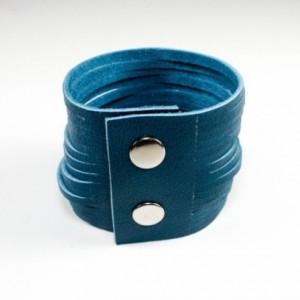 Sliced Leather Cuff - Azure Blue