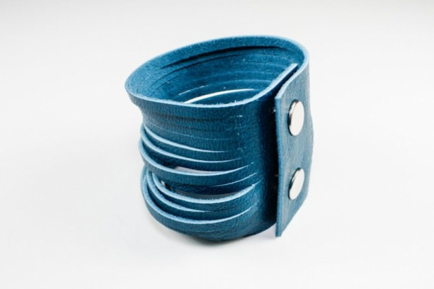 Sliced Leather Cuff - Azure Blue