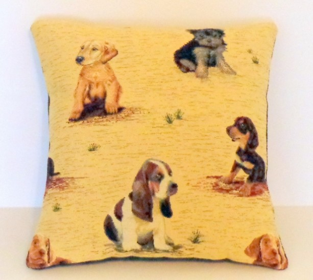 ONE 18X18 TAPESTRY PUPPY PILLOW COVER
