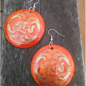 Large Orange Boho Earrings with Gold Elephant Detail