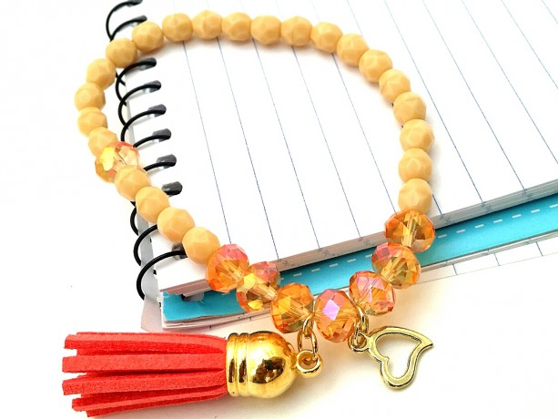 Orange Stackable, Two Toned Bracelet, Simple Chic Bracelet, Orange Tassel, Orange Gold Charm, Melon Bead Bracelet, Simple Boho Bracelet