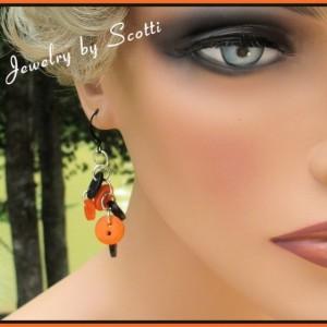 Orange Black Earrings // Halloween // Button Earrings