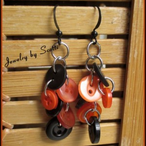 Orange Black Earrings // Halloween // Button Earrings