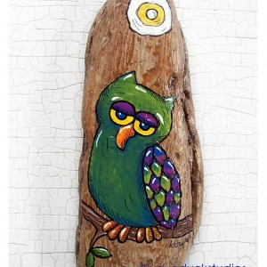 Sleepy GREEN Owl Special Get to Know ME pricing Hand Painted Driftwood Original Folk Art painting Whimsical Lake Erie Coastal Whimsy