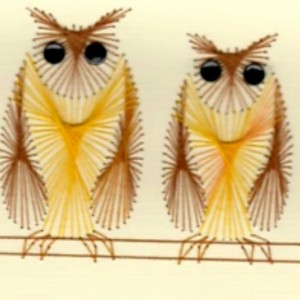 Fanciful Owls Embroidered Blank Greeting Card Set
