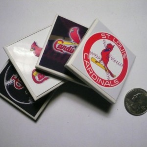 St. Louis Cardinals Tiny Ceramic Refrigerator Magnets set of 4