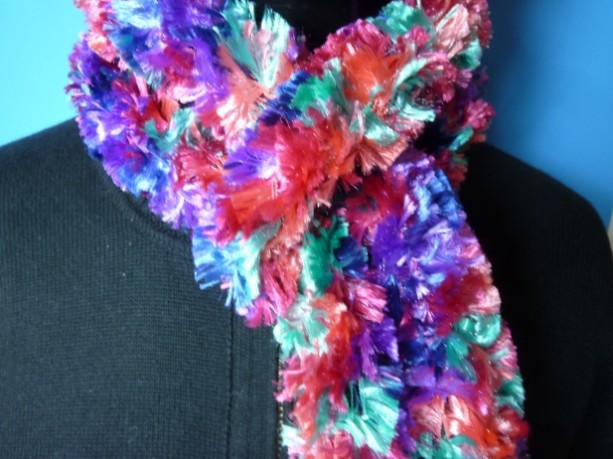 Handhooked Boa Scarf - Pink Confetti