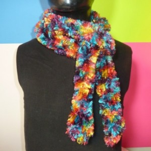 Handhooked Boa Scarf - Firework