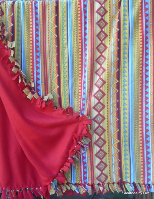 Hand Tied Multi Colored Vertical Pattern Fleece Throw