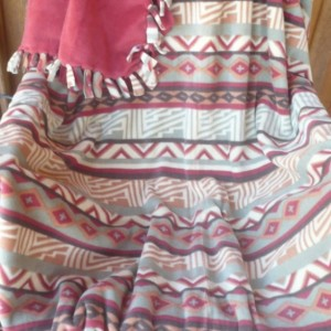 Hand Tied Wine Zigzag Fleece Throw