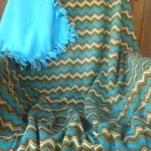 Hand Tied Horizontal Zigzag Fleece Throw