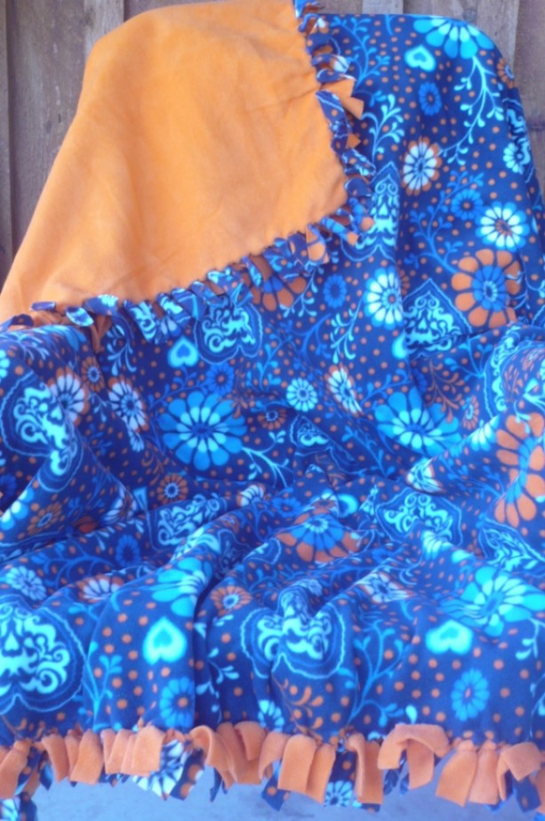 Hand Tied Blue Fleece Throw With Flowers & Hearts Pattern