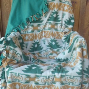Hand Tied Southwest Pattern Fleece Throw