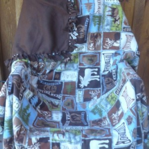 Hand Tied Forest Animal Fleece Throw
