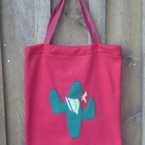 Hand Made Red Fleece Bag With Fleece Cactus Decoration