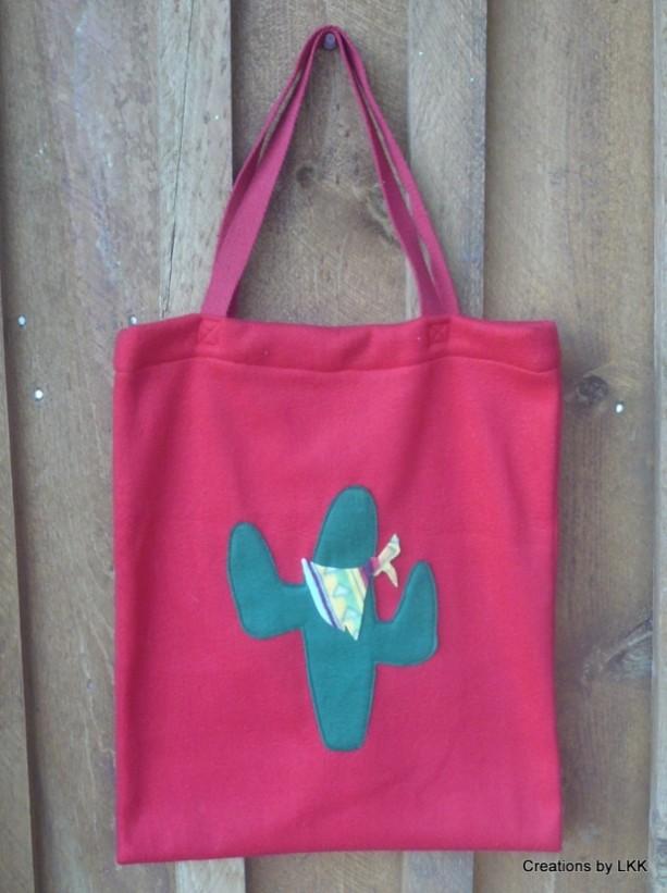 Hand Made Red Fleece Bag With Fleece Cactus Decoration