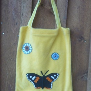 Yellow Fleece Bag With Flowers Butterfly Decorations