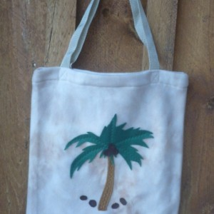 Beige Fleece Bag With Decorative Palm Tree