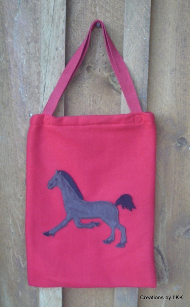 Red Fleece Bag With Brown Horse Decoration