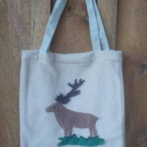 Beige Fleece Bag with Elk Decoration