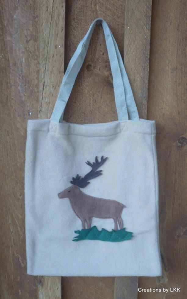 Beige Fleece Bag with Elk Decoration
