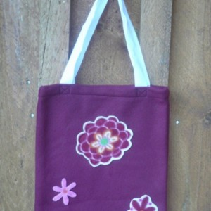 Fleece Burgundy Bag With Flower Decorations