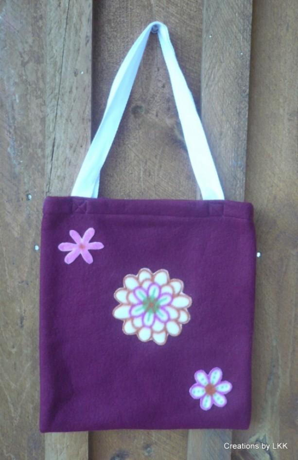 Fleece Burgundy Bag With Flower Decorations