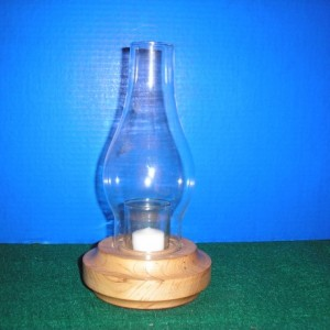 wood candle holder with glass chimney