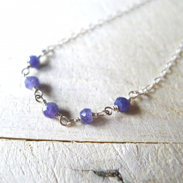 """16"""" Silver Necklace with Purple Iolite Accent Beaded Rosary Chain, Rosary Necklace, Wire Wrapped Iolite Beaded Necklace"""