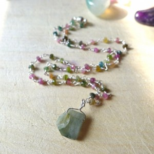 """16"""" Watermelon Rainbow Tourmaline Beaded Rosary Necklace and Moss Agate Pendant Wire Wrapped on Sterling Silver Vermeil with Magnetic Clasp"""