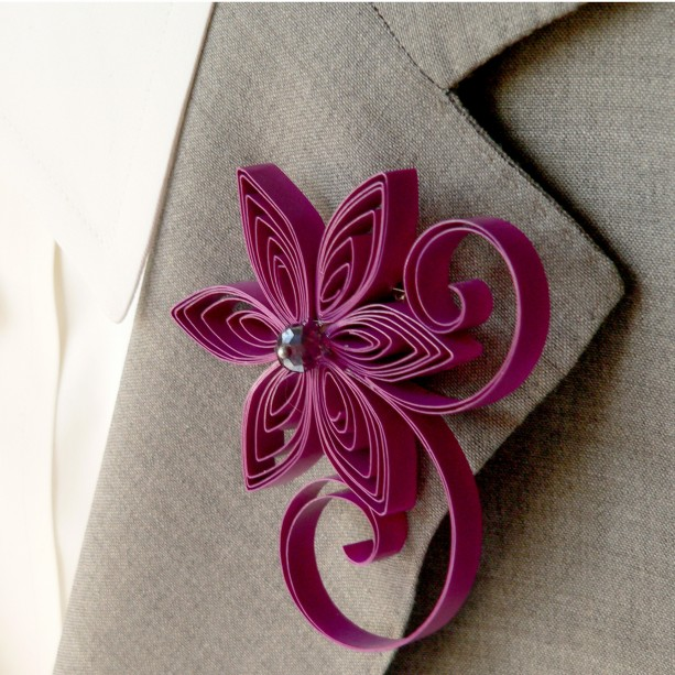 Cassis Purple Boutonniere for Wedding