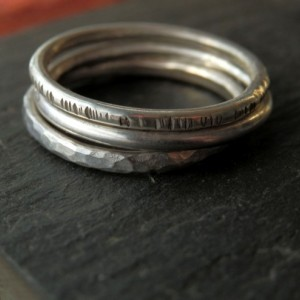 Solid recycled sterling silver stacking ring