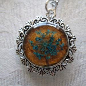 Blue Queen Anne's Lace Flower on Honey Silver Tone Pendant