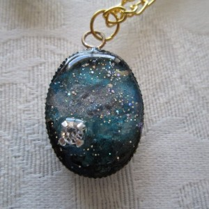 Galactic Oval Pendant with Crystal