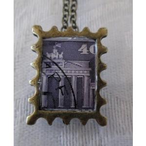 Purple German Architecture postage Stamp Bronze Tone Pendant