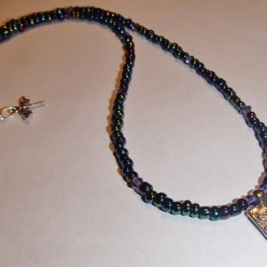 Hippie Girl Necklace. Dragonfly Charm Necklace. Hippie Girl Choker